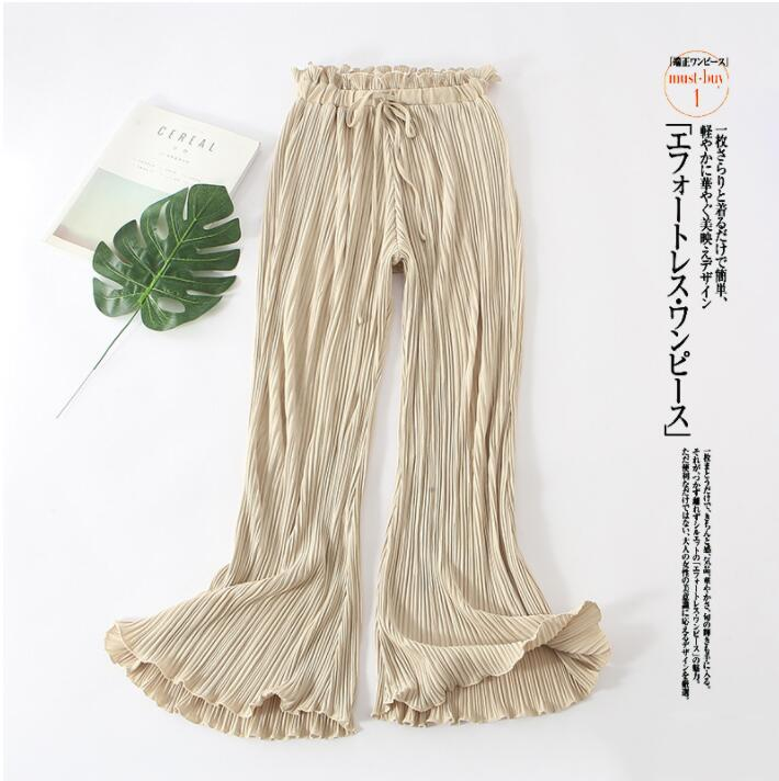 Women   Wide     Leg     Pants   Spring Summer High Waist Pleated Chiffon Elastic Casual Loose   Pants   Thin Cropped Trouser