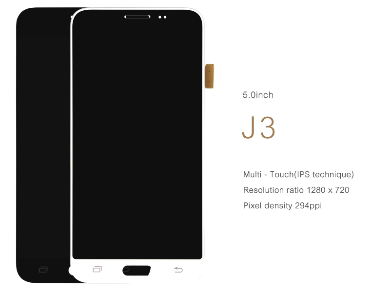 DHL 1pcs2016 Original For Samsung Galaxy J3 LCD Display J320A J320F J320M Touch screen with digitizer Assembly Black White Color