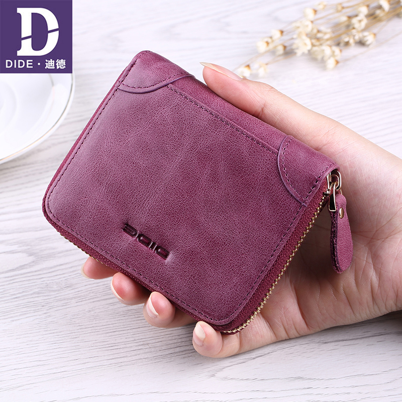 DIDE Genuine Leather Women Wallets Brand Short mini wallet purse zipper wallet Korean wallet purse Dropshipping DQ682