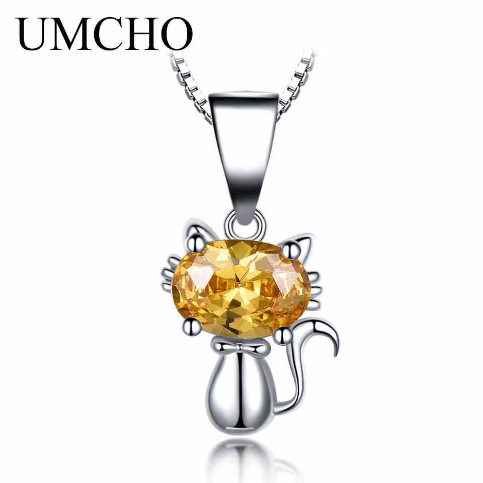 UMCHO Настоящее серебро 925 ювелирный кулон создан драгоценный камень цитрин подвески мультфильм детское ожерелье ювелирное изделие в виде кошки подарок на день рождения