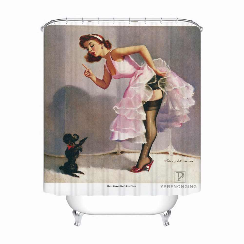 Bath Curtain For Bathroom Custom Pin Up Gril@0124 Home Decor Shower Curtain Waterproof Fabric Hooks #180417-01-66
