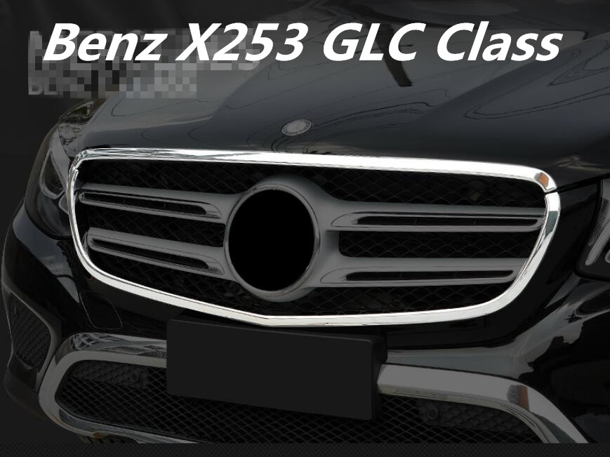 ABS Chrome Front Bumper Grille Hood Engine Cover Trims For Benz X253 GLC Class 200 220 250 260 300  2016 2017 2018 BY EMS|Chromium Styling| |  - title=