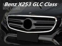 ABS Chrome Frontgrill Haube Motor Abdeckung Trimmt Für Benz X253 GLC Klasse 200 220 250 260 300 2016 2017 2018 DURCH EMS-in Chrom-Styling aus Kraftfahrzeuge und Motorräder bei