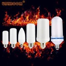 Lâmpada led com efeito de fogo, criativo com 3 modos + sensor de gravidade, luzes de chama e27 e26 e14 7w 9w lâmpada de decoração tremeluzente emulação
