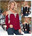 Women's Lace Up crochet hollow out blusa V Neck off shoulder patchwork femme casual autumn Bloue loose Top Plus 4XL 5XL Size