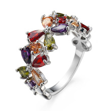 Luxury AAAAA Cubic Zirconia Silver Ring Shine Delicate Colorful Rainbow CZ Band Ring for Women Grils Wedding Party Jewelry Gifts shine ring sr28 green