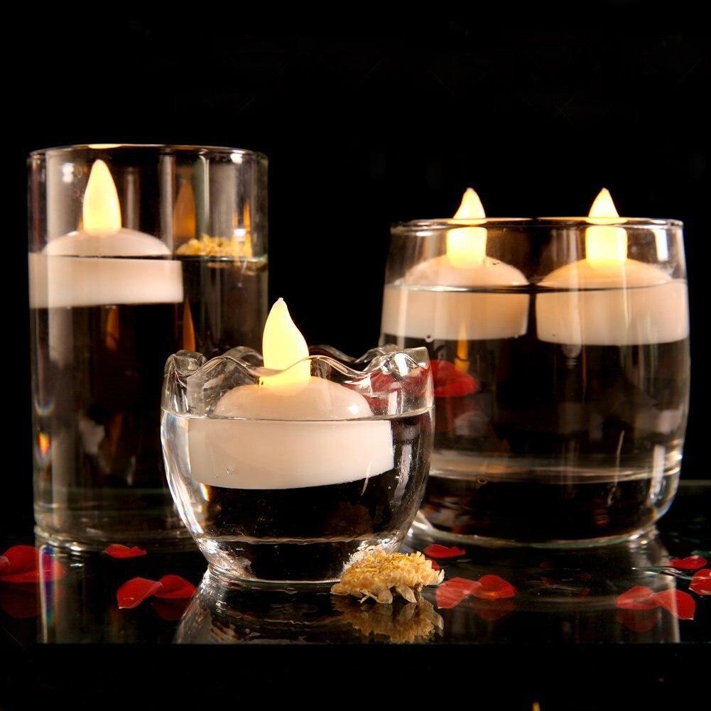 12 шт. водонепроницаемый Свеча Свет Спа Плавающие СВЕТОДИОДНЫЕ мерцающие Чайные свечи JDH99