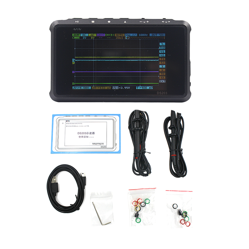 Mini DSO203 Digital Oscilloscope USB ARM Nano Portable Osciloscopio 8MHz 4CH ARM Cortex M3 CPU Meter Aluminum Meter Case DS203 arm ds203 nano quad pocket sized oscilloscope dso203 digital storage oscilloscope usb cable mcx probe