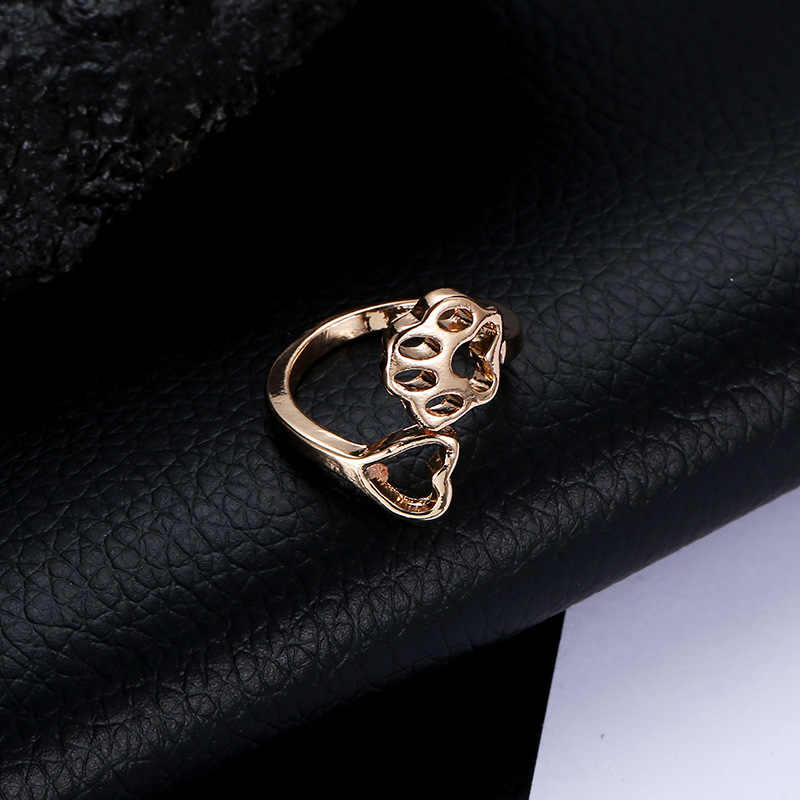 Hollow Heart Dog Claw Ring Open Men Women Rose Gold Silver Black Color Animal Feet Metal Jewelry Accessories Adjustable