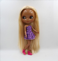 Blygirl,Blyth doll,K gold straight hair, black skin, 7 joints, normal body, 1/6 doll, naked baby, can change body.