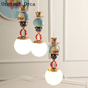 Cartoon creative clown chandelier boys bedroom children's room lamp Nordic simple LED color doll Chandelier free shipping