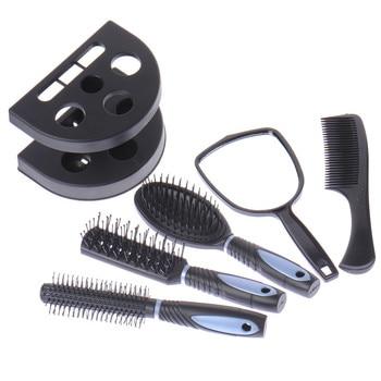 6pcs/set Travel Hair Comb Set Tangle Hair Brush Styling Tool Beauty SPA Massager Detangling Massage Hair Combs +Mirro With Shelf