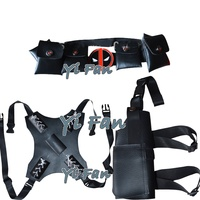 Deadpool Cosplay Sets Black 3 Pieces Dead pool Accessories Belt Sword Holder Gun Holster