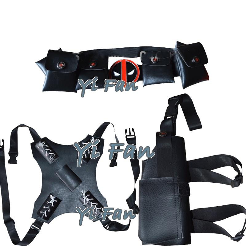 Deadpool Cosplay Sets Black 3 Pieces Dead-pool Accessories Belt Sword Holder Gun Holster