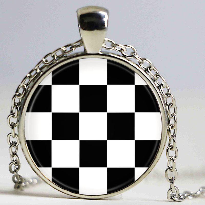 Black and white squares Plaid Tartan Jewelry Girl Round Pendant Necklace Girls Sweater Chain Gift For her free tartan