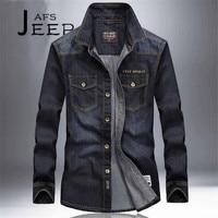 AFS JEEP S To 4XL Man S Denim Long Sleeve Shirts Cotton Material Black Dark Blue