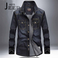 AFS JEEP S To 4XL Man S Denim Long Sleeve Shirts Cotton Material Black Dark Blue