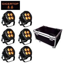 6в1 Зарядка чехол 4x18 Вт Водонепроницаемый светодиодный с питанием от аккумулятора свет RGBWY UV 6 цветов открытый дизайн 2,4 г дистанционное упра...