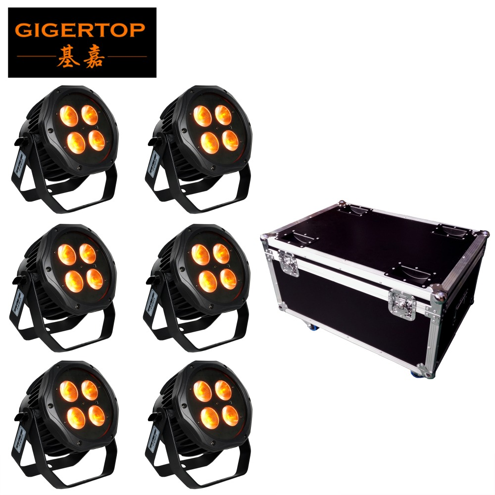 6in1 Charging Flightcase Pack 4x18W Waterproof Battery Led Par Light RGBWY UV 6 Color Outdoor Design 2.4G Remote Control