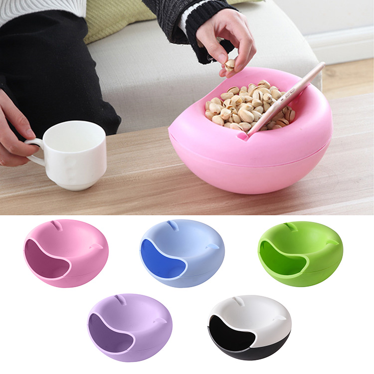 Useful Double Layers Snacks Fruit Plate Bowl Dish Phone Holder for TV Lazy Home Accessories J2Y