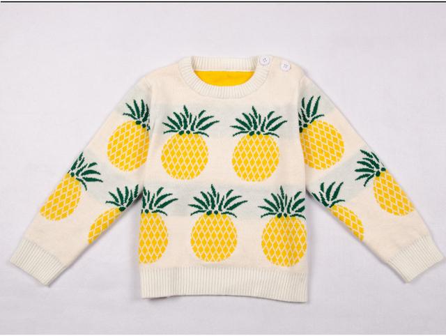 INS novo Inverno Europa pineapplepattern camisola da menina do menino das Crianças de manga longa roupas do bebê do algodão tricô topo