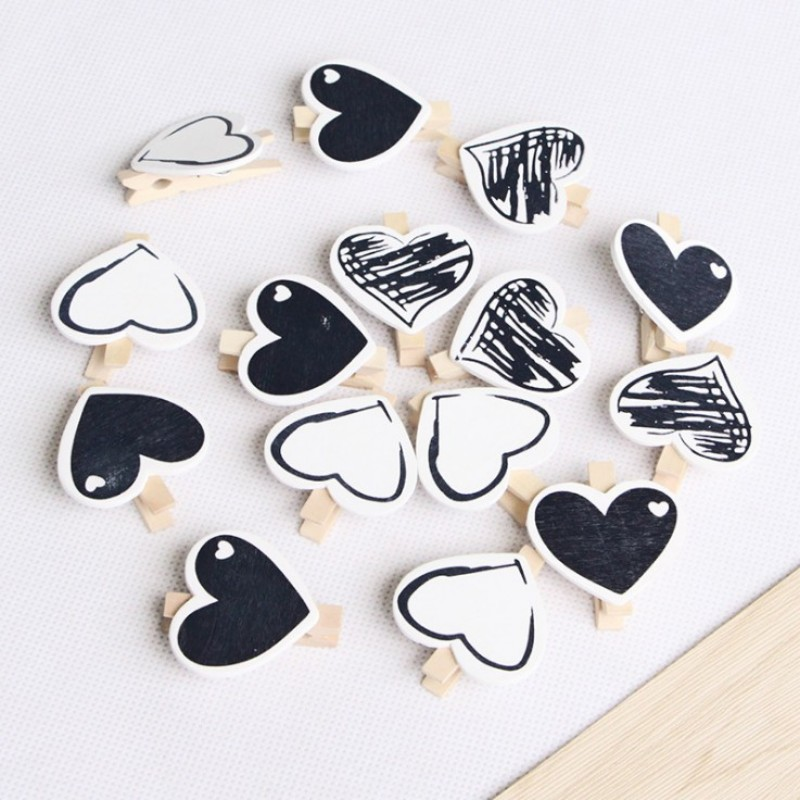 10 Pcs/bag Mini 4.5 Cm Cute Black Love Wooden Clip DIY Photo Paper Clips With Hemp Rope Photo Hanging Spring Message Memo Clip
