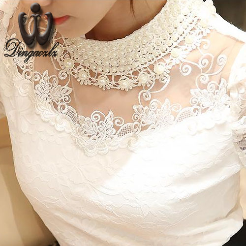 2017 Blusa 5XL Beaded lace tops Crochet Lace Blouse Patchwork Hollow out Long sleeve Chiffon Women shirt Plus size clothing