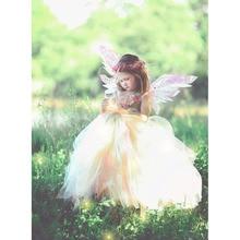 Fairy Girl Tinkerbell Birthday Party Tutu Dress for Kids Princess Secret Garden Flower Girl Floor Length Dresses Set with Wreath