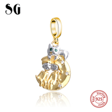 100% Real 925 Sterling Silver Couple & Gold Cat Charm Beads Fit Original Pandora Bracelets Pendant Authentic DIY Jewelry Gifts 14k real gold believe beads 100% 925 sterling silver two tone charm beads for jewelry making fit bracelets diy pf112k
