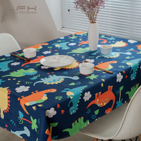 LFH Tablecloth Lovely Cartoon Series Of Cotton Thick Table Cloth Blue White Dinosaurs For Children Home And Hotel Tablecloth