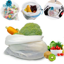 5PCS/Lot Reusable Produce Mesh Bags Eco Friendly Double-Stitched Food Toys Storage(China)
