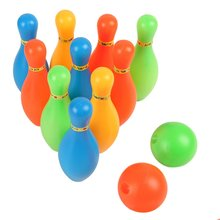 Wonderful Cartoon Standard Bowling Set 10 Pins 2 Bowling Balls Children Kids Educational Toys For Indoor Outdoor Sport 14cm/17cm(China)
