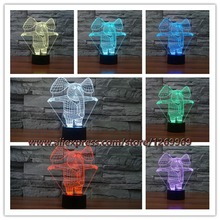2017 Cartoon Figure Elephant Dressed Business Suit LED Lamp Funny Clown 7 Colors Changing Illusion Visual Night Light Kids Toys