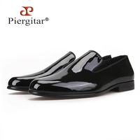 Piergitar 2018 New arrival Handmade Black Patent leather men shoes luxurious party and wedding men's dress shoes men loafers