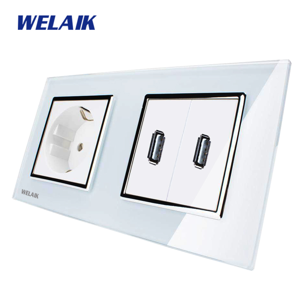 WELAIK Glass Panel Wall EU Power Socket Wall Outlet White Black European standard USB outlet AC110~250V A28E82USW/B welaik glass panel wall socket wall outlet white black european standard power socket ac110 250v a38e8e8ew b