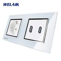 WELAIK Glass Panel Wall France USB Socket Wall Outlet White Black France Standard Power Outlet AC110