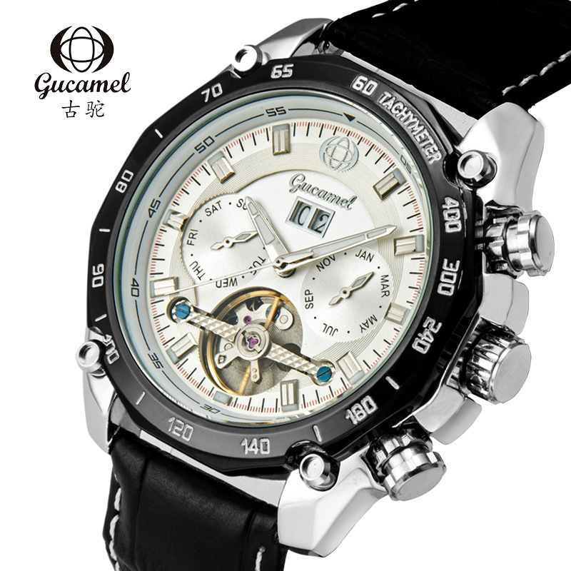 GUCAMEL Brand Tourbillon Men Watches Automatic Fashion Business Stainless Steel Band Male Wristwatch Waterproof Relogio Masulino