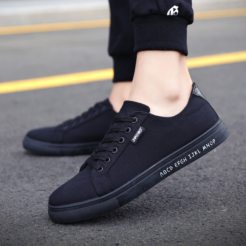 Men Shoes British-Style Flats Spring Breathable New Hot Round Lace-Up Canvas Top-Quality