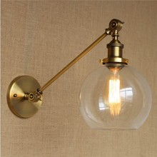 Edison Retro Loft Style Industrial Wall Lamp With Glass Lampshade Brass Vintage Wall Sconce Stair Light Fixtures american wall lamp industrial vintage loft style wall light for bedside wall sconce glass iron art edison e27 lighting fixtures
