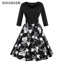 Enyuever Autumn Vintage Dresses 50s 60s Winter Women Floral Print Patchwork Elegant Robe Rockabilly Party Dress