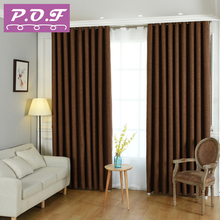 P.O.F New Fabric Solid Color Faux Linen Blackout Curtains for Living Room Modern Bedroom Window kitchen