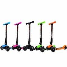 US Stock Roller 3 Rad Einstellbare Höhe PU Blinkende Räder Treten Roller Falten System für Kinder Kinder 3 bis 17 Jahre alt
