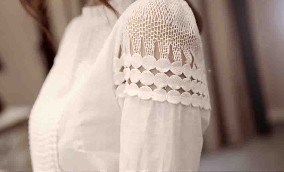 Claro Tamaño Camisa Encaje Larga Blanco Fondo Mujeres Gancho S Tocar Hueco Manga Delgado Nuevas Flor 5xl Más Blusas De xqSZWwg4U