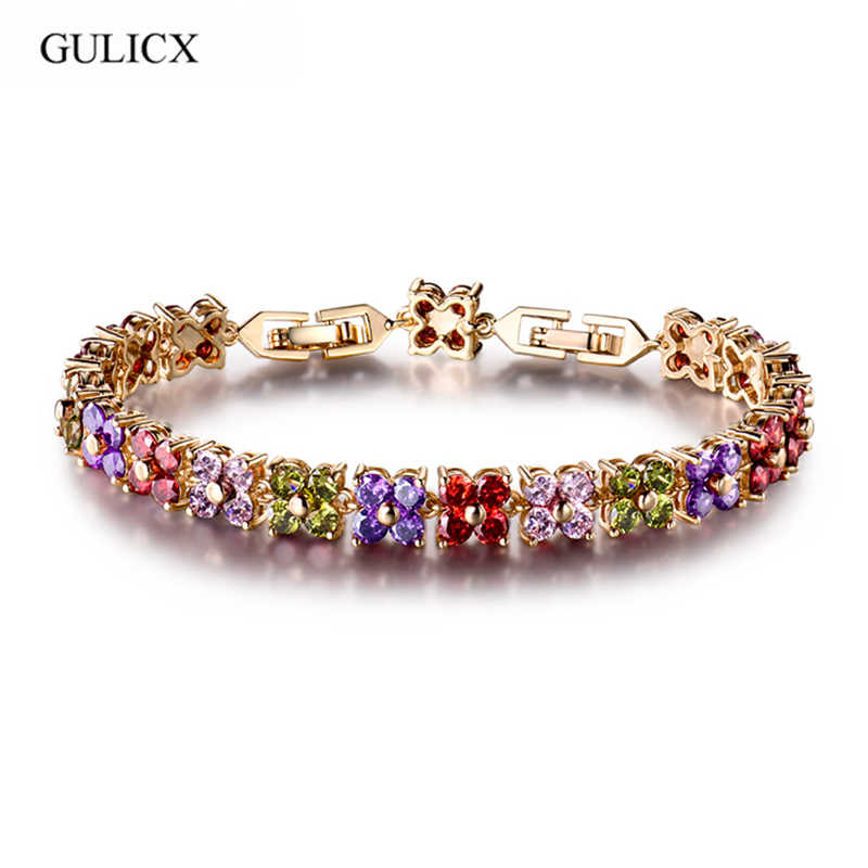 GULICX Latest Design White Gold-color Charm 2 layers AAA+ Round CZ Simulated Crystal Tennis Bracelet For Woman