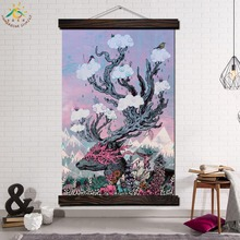 Sika Deer Landscape Art Modern Wall Art Print Picture And Poster Frame Hanging Scroll Canvas Painting Canvas Poster Home Decor кабель севкабель nym 3x2 5мм2 гост iec 60227 4 2011