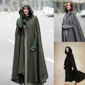 Image 2 - Casaco com capuz medieval feminino, fantasia vintage gótica com capa sobretudo 2020