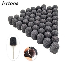 50 pces 13*19mm preto têxtil lixa tampões com aperto pedicure cuidados polimento bloco de areia prego broca acessórios pé cutícula ferramenta