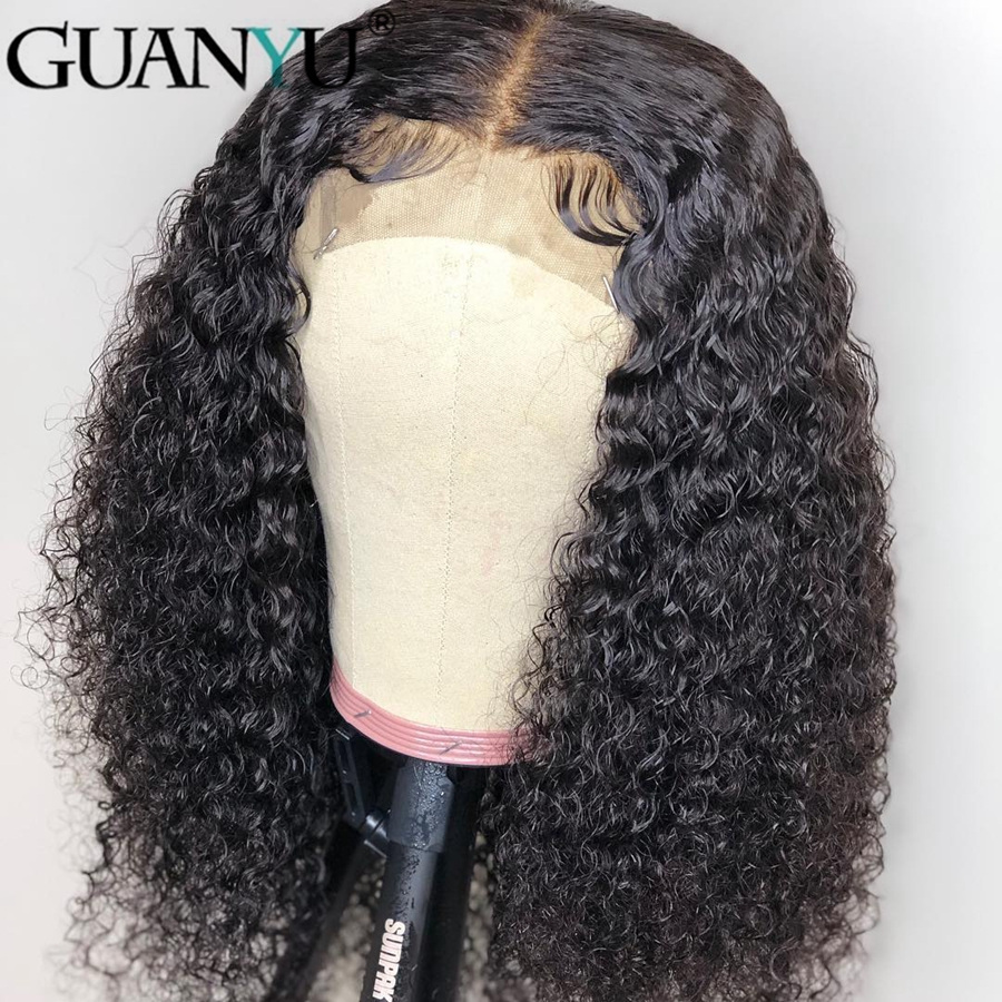Jerry Curly 13*4 Lace Front Human Hair Wigs For Black Women Brazilian Remy Lace Front Wigs With Baby Hair Pre Plucked Natural Black Color For Guanyuhair