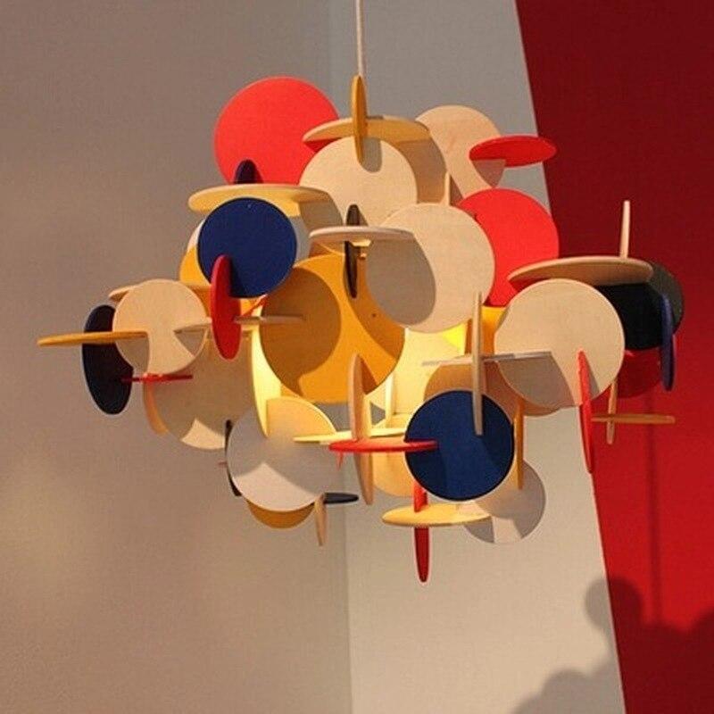 Lampe suspendue nordique pour salle d'exposition personnalité moderne blocs créatifs et Design Parquet coloré en bois massif pour lampe pour enfants