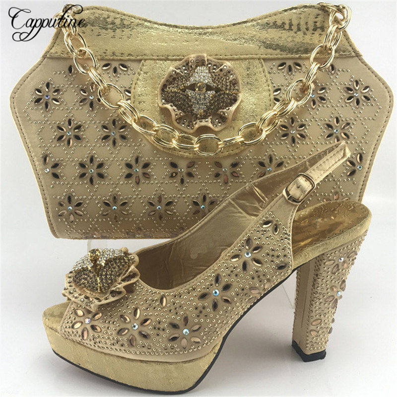 Capputine Gold Color Italian Woman Shoes With Matching Bags Set African Shoes And Wedding Shoes For Party Free Shipping ME7713 free shipping fashion woman italian matching shoes and bags set wedding party lady shoe and bag set with rhinestones mm10126